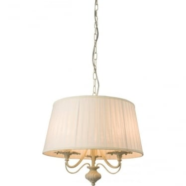 Chester 3 Light Pendant -  Cream with brushed gold effect paint