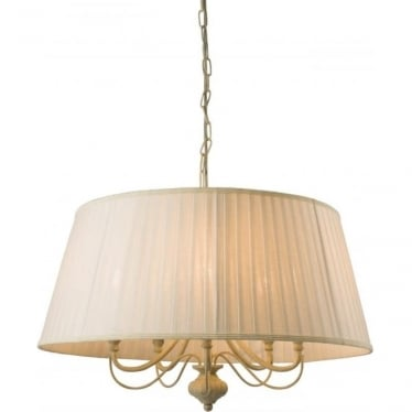 Chester 5 light pendant - cream brushed gold & off white faux silk shade