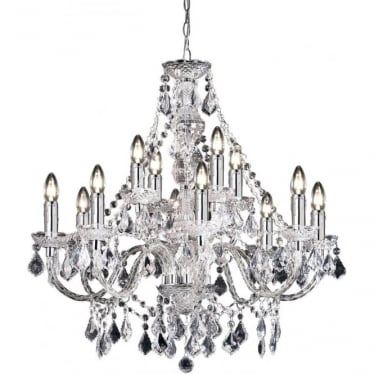 Clarence 12 light pendant - Clear acrylic & chrome plate