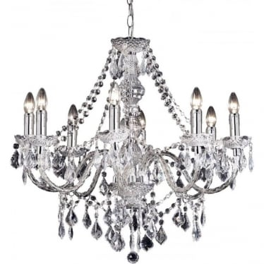 Clarence 8 light pendant - Clear acrylic & chrome plate