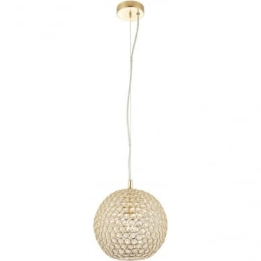 Claudia single pendant - Brass & clear crystal glass
