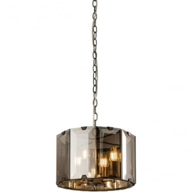 Clooney 4 light pendant - matt grey & smoked bevelled glass