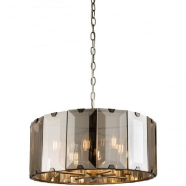 Clooney 8 light pendant - matt grey & smoked bevelled glass
