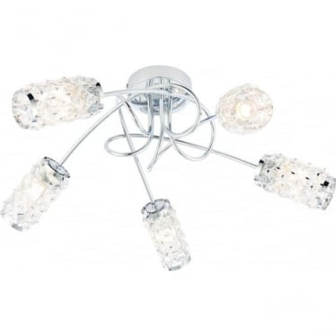 Colby 5 light semi flush fitting - Chrome plate & clear glass beads