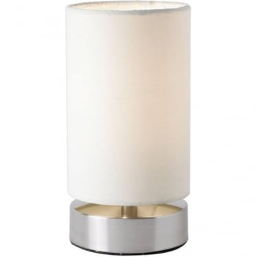 Colliers touch pair of table lamps  - Satin Nickel and Cream Cotton