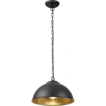 Colman single light Pendant - Matt Black & Gold leaf effect