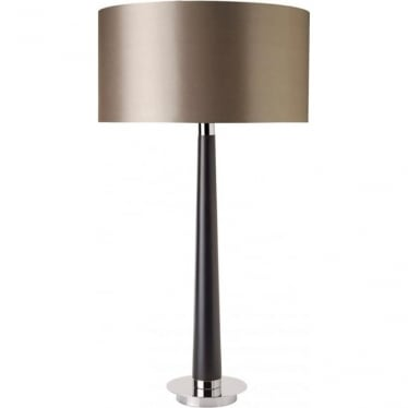 Corvina table lamp - Walnut wood effect & mink faux silk