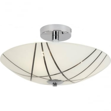 Crosby 3 Light semi flush fitting - White glass with black detail & chrome plate