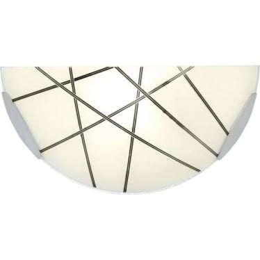 Crosby single wall light - White glass with black detail & chrome plate