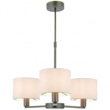 Daley 3 light pendant with 3 shades - Dark antique bronze effect & marble faux silk