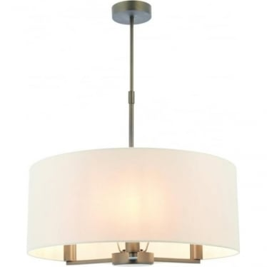 Daley 3 light pendant with single shade - Dark antique bronze effect & marble faux silk