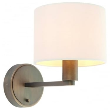 Daley single light wall fitting - Dark antique bronze effect & marble faux silk