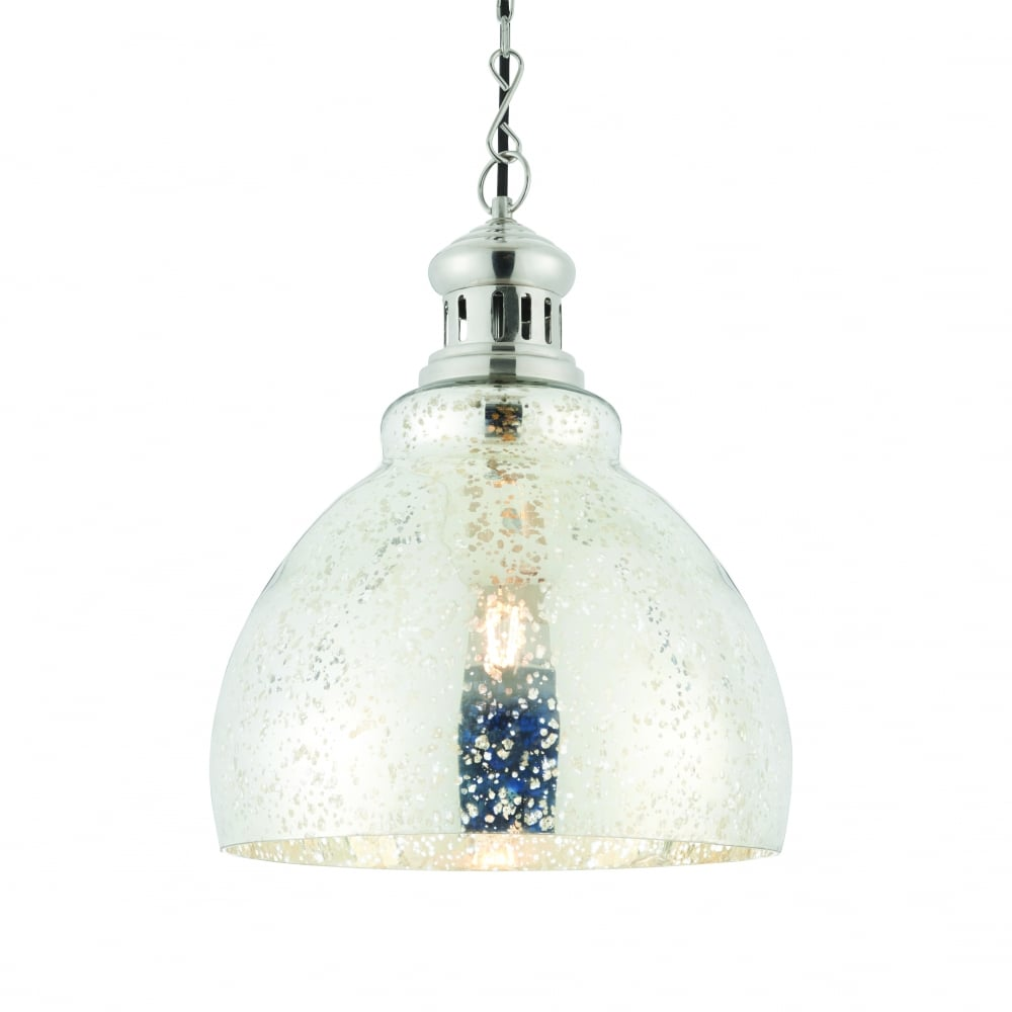 Darna single light pendant bright nickel mercury glass