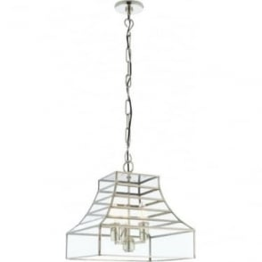 Dempsey 3 light pendant - Polished stainless steel & clear glass