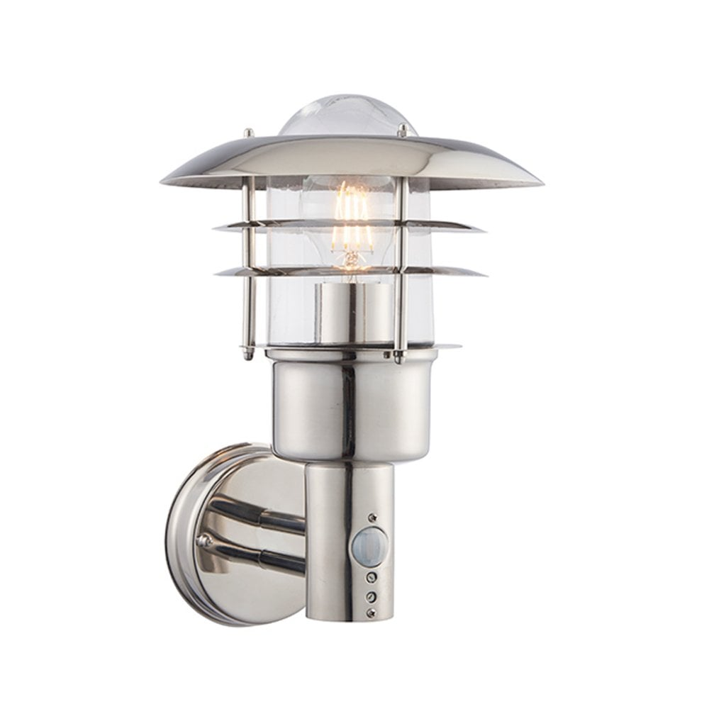 sports shoes 7c371 f30ad Dexter Single Light Wall Fitting PIR IP44 - Polished Stainless Steel &  Clear Glass