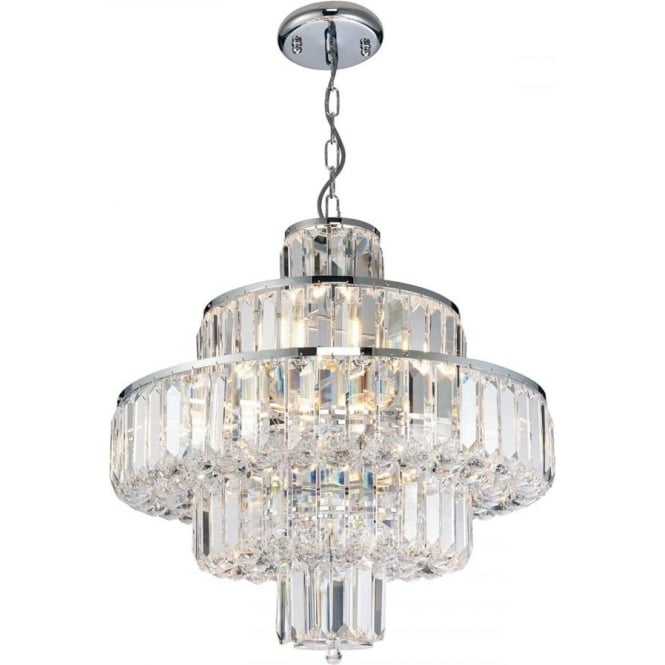 Endon Lighting discontinued Banderas 10 light pendant - Chrome plate & asfour lead crystal