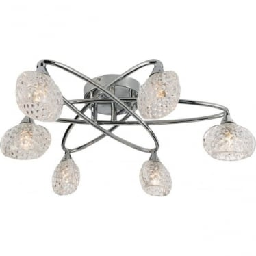Eastwood 6 light semi flush fitting - Chrome plate & clear glass