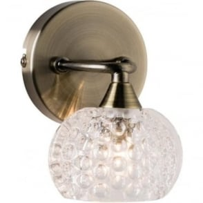 Eastwood single wall fitting - Antique brass & clear glass