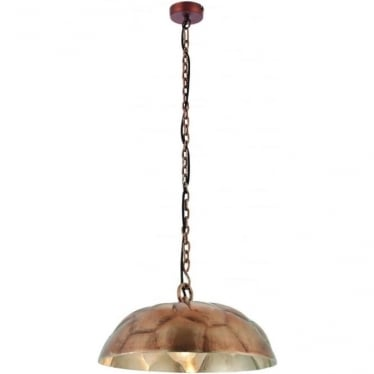 Elmore single light pendant - Antique copper plate & brushed aluminium