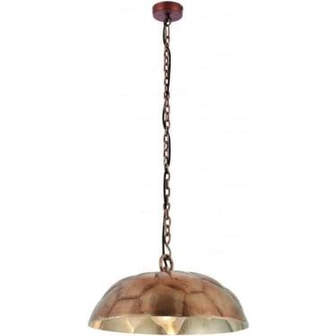 Elmore single light pendant - Antique copper plate & brushed aluminium