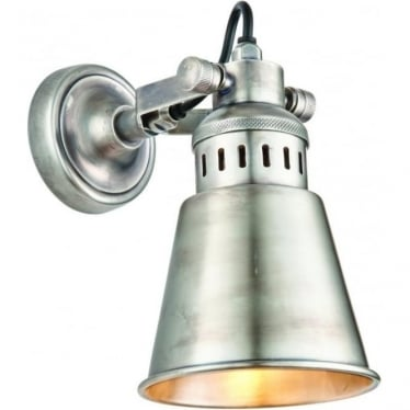 Elms LED single light wall light - Tarnished silver finished solid brass
