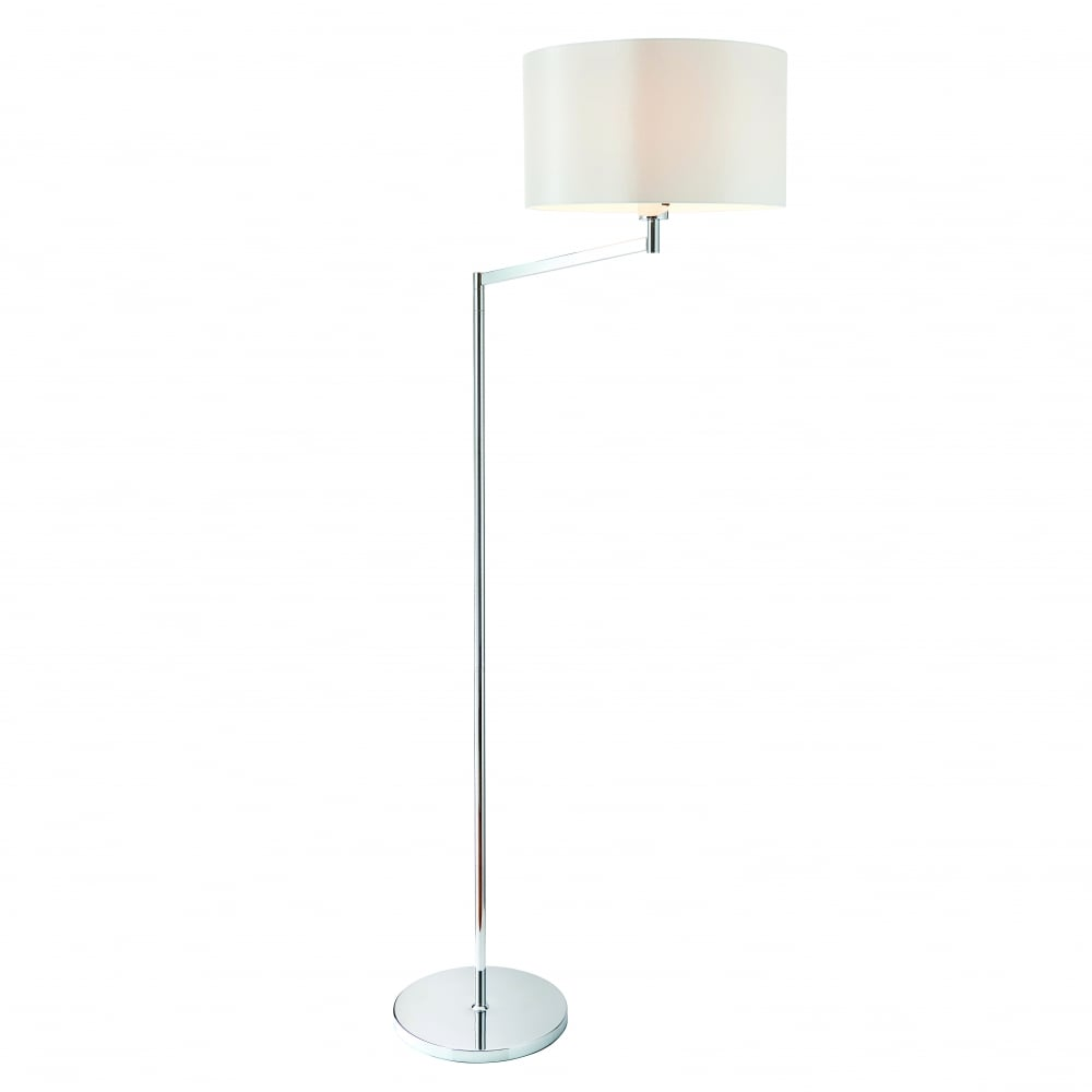 Evelyn Swing Arm Floor Lamp Chrome Plate Vintage White Faux Silk Shade