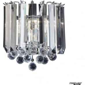 Fargo 2 Light wall fitting - Chrome & clear acrylic