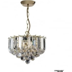 Fargo 3 Light small pendant - Brass & clear acrylic