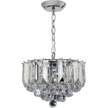 Fargo 3 Light Small Pendant - Chrome Plate & Clear Acrylic