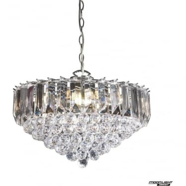 Fargo 6 light pendant - Chrome plate & clear acrylic
