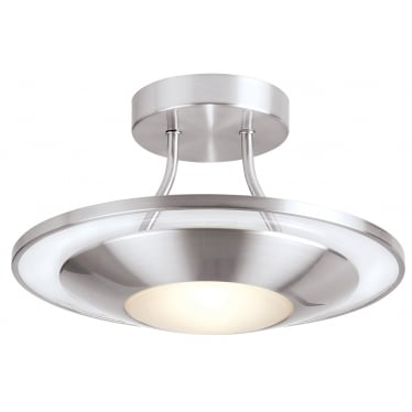 Firenz 1 light semi flush fitting - Satin chrome with clear & frosted glass