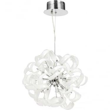 Fonda 9 light pendant - Gloss white & chrome plate