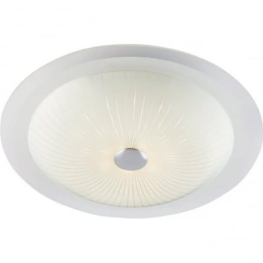 Fretton LED single light ceiling flush fitting - Opal with clear & frosted glass - 360mm