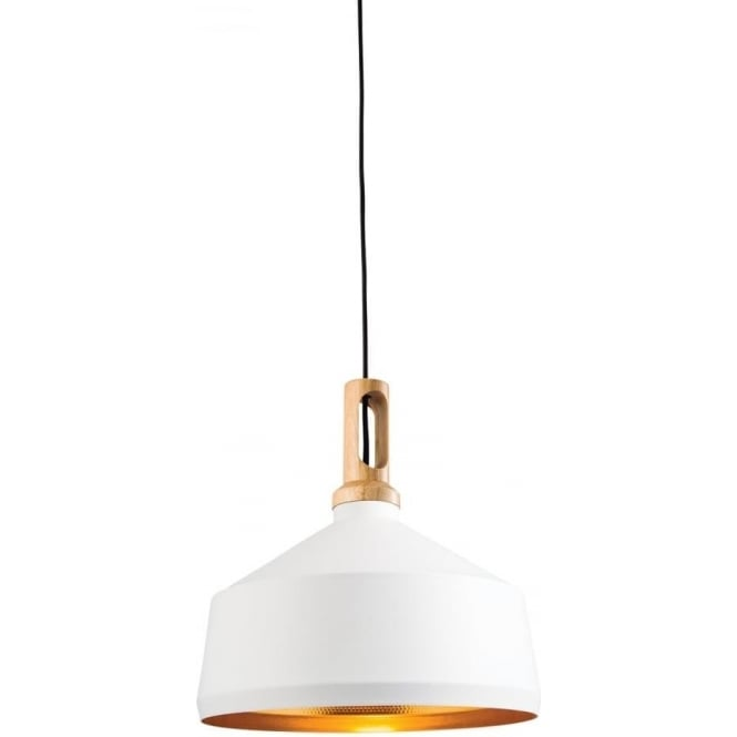 Endon Lighting Garcia Single Pendant - Matt White, Hammered Gold & Light Wood Finish