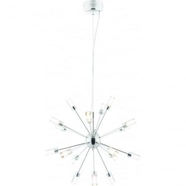 Glacier 18 light pendant - Chrome plate & clear acrylic with bubbles