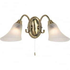 Hardwick 2 light wall fitting - Antique brass & frosted glass