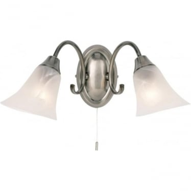 Hardwick 2 light wall fitting - Antique silver & frosted glass