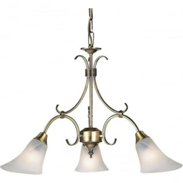Hardwick 3 Light Pendant 40W - Antique Brass & Frosted Glass