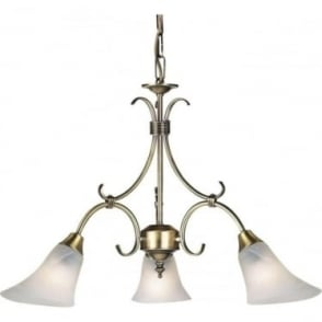 Hardwick 3 Light Pendant - Antique Brass & Frosted Glass