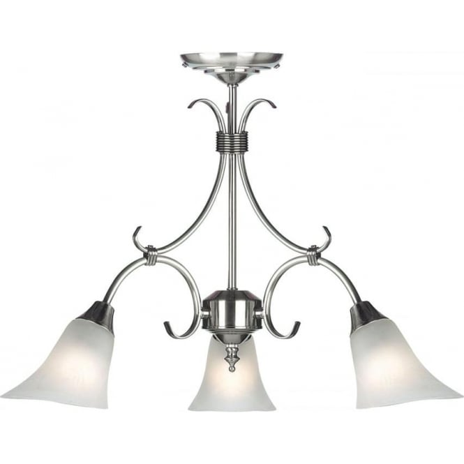 Endon Lighting Hardwick 3 Light Pendant - Antique Silver & Frosted Glass