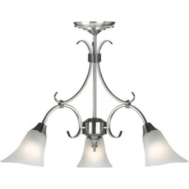 Hardwick 3 Light Pendant - Antique Silver & Frosted Glass
