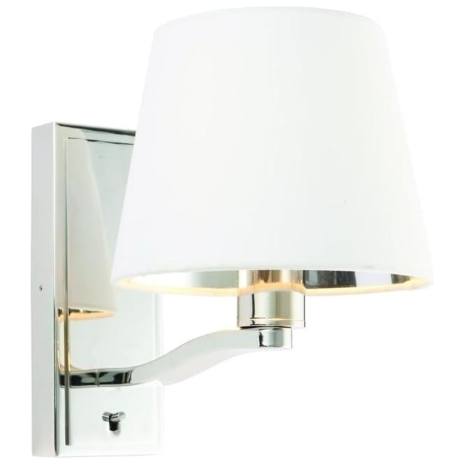 Endon Lighting Harvey single light wall fitting - Bright nickel & vintage white faux silk