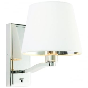 Harvey single light wall fitting - Bright nickel & vintage white faux silk