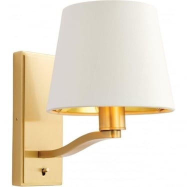 Harvey Single Light Wall Fitting - Brushed gold & vintage white faux silk