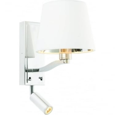 Harvey single light wall fitting & spot light - Bright nickel & vintage white faux silk