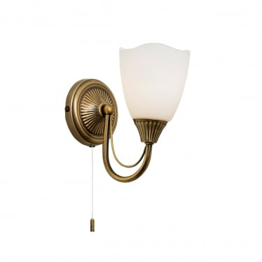 Haughton 1 light wall - Antique brass & opal glass