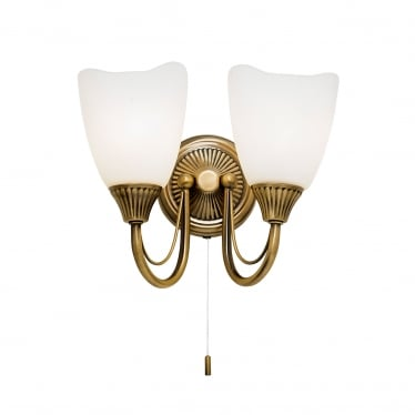Haughton 2 light wall - Antique brass & opal glass