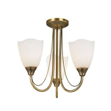 Haughton 3 light semi flush - Antique brass & opal glass
