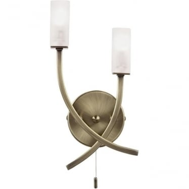 Havana 2 light wall fitting - Antique brass & frosted glass