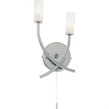 Havana 2 light wall fitting - chrome plate & frosted glass